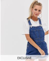 Reclaimed (vintage) Inspired Short Dungaree In Mid Blue