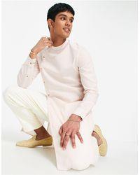 ASOS Розовая Длинная Рубашка С Асимметричным Краем Из Ткани С Добавлением Льна - Розовый