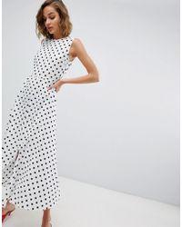 ASOS - Design Sleeveless Maxi Dress In Polka Dot - Lyst