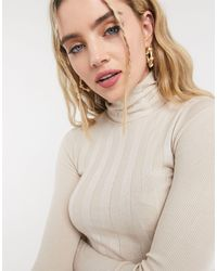 TOPSHOP - Ixed Ribbed Roll Neck Knitted Sweater - Lyst