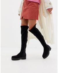 Lost Ink Shona Chunky Over The Knee Boots - Black