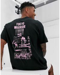 BoohooMAN Черная Oversize-футболка С Принтом На Груди И Спине - Черный