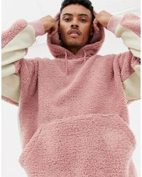 ASOS - Oversized Hoodie In Pink Borg With Contrast Ribs - Lyst