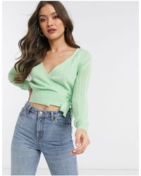 Fashion Union Knitted Wrap Sweater - Green