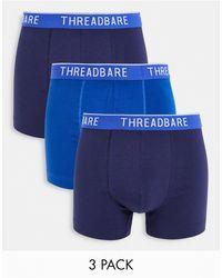 Threadbare Набор Из 3 Боксеров-брифов Темно-синего И Кобальтового Синего Цветов Bryan-темно-синий