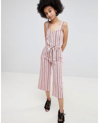 Miss Selfridge - Stripe Culotte Tie Waist Jumpsuit - Lyst