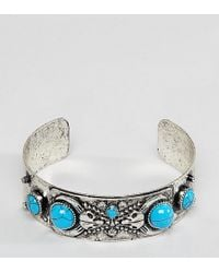 Reclaimed (vintage) - Inspired Silver Bangle With Semi Precious Stones Exclusive To Asos - Lyst