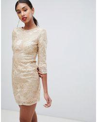 TFNC London Baroque Patterned Sequin Mini Dress In Gold - Metallic
