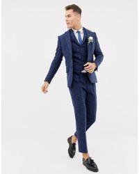 ASOS Wedding Slim Suit Jacket In 100% Wool Harris Tweed In Navy Twill - Blue