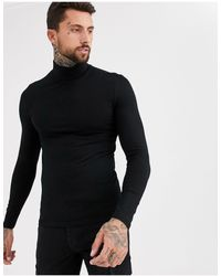 ASOS Muscle Fit Jersey Roll Neck - Black