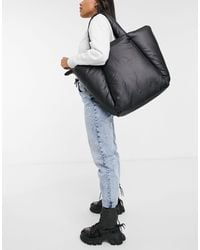 Stradivarius Padded Shopper Bag - Black