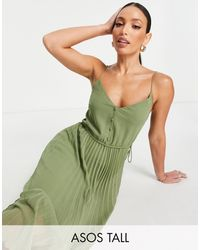 ASOS Asos Design Tall Button Front Pleated Cami Midi Dress With Drawstring Waist - Green