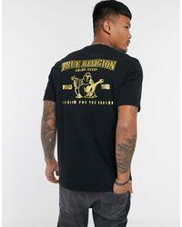 True Religion Camiseta negra con logo dorado estampado en la espalda - Negro