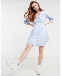 New Look Poplin Collar Button Through Mini Dress - Blue