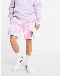TOPMAN Разноцветные Шорты С Принтом Тай-дай -фиолетовый Цвет - Пурпурный