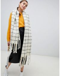 Monki - Grid Scarf In Black And White - Lyst