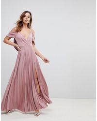 ASOS Платье Макси С Открытыми Плечами, Драпировкой На Спине И Плиссированной Юбкой Asos - Розовый