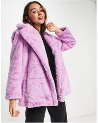 French Connection Buona Faux Fur Coat - Purple