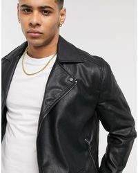 New Look Черная Байкерская Куртка -черный