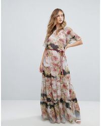 Traffic People | Short Sleeve Printed Chiffon Floral Bloom Maxi Dress | Lyst