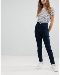 ASOS Farleigh High Waist Slim Mom Jeans In Akila Blackend Blue Wash With Bum Rips