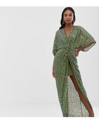 ASOS Tall - Lange Kimonojurk Met Lovertjes En Knoop Voorop - Groen