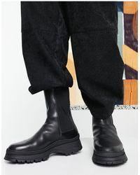 ASOS - Черные Кожаные Ботинки Челси На Массивной Подошве С Уплотненной Вставкой На Щиколотке - Lyst