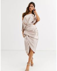 ASOS Drape Asymmetric Midi Dress - Multicolour