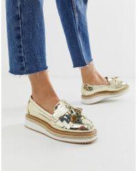 ASOS Merit Loafer Flat Shoes - Metallic