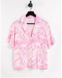 Stradivarius Marble Print Boxy Shirt - Pink