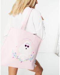 Skinnydip London Louis Poodle Tote Bag - Pink