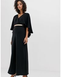 River Island Jumpsuit With Cape - Black