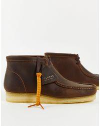 Clarks Ботинки Из Вощеной Кожи Wallabee-коричневый Цвет