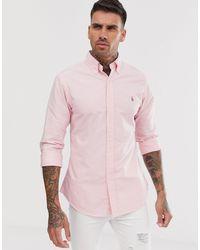 Polo Ralph Lauren Розовая Облегающая Оксфордская Рубашка На Пуговицах С Логотипом -розовый
