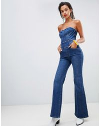 b4c36d8f54b7 Miss Sixty - Crop Flare Strapless Denim Jumpsuit - Lyst