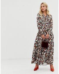 Zibi London V Front Leopard Print Midi Dress - Multicolor