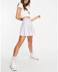Pull&Bear Теннисная Мини-юбка Со Складками В Клетку Сиреневого Цвета -фиолетовый Цвет - Пурпурный
