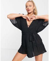 ASOS Черное Ярусное Пляжное Платье Из Жатой Ткани - Черный