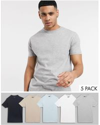 Brave Soul 5 Pack T-shirt With Crew Neck - Gray