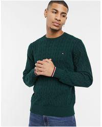 Tommy Hilfiger Зеленый Джемпер Из Органического Хлопка С Круглым Вырезом И Узором «косичка» -зеленый Цвет