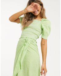 Monki Mona Check Print Seersucker Crop Top - Green