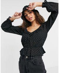 Brave Soul Блузка В Горошек С Оборкой На Горловине Gianina-черный Цвет