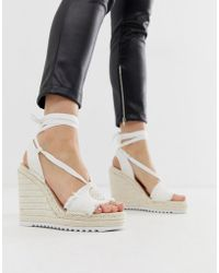 Juicy Couture Tie Ankle Espadrille Wedges - White