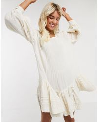 Free People Washed Ashore Mini Dress-cream - White