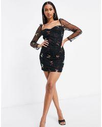 Naanaa Mesh Sleeve Butterfly Print Dress - Black
