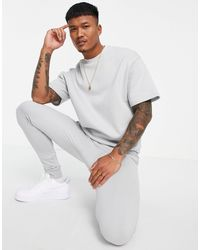 ASOS Tracksuit With Short Sleeve Sweatshirt And Super Skinny sweatpants - Gray