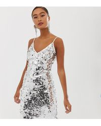 Miss Selfridge Bodycon Midi Dress In Silver Sequin - Metallic