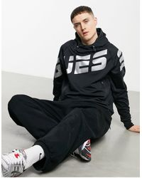 Guess Active Scuba Knit Large Logo Full Zip Hooded Tech Jacket - Black