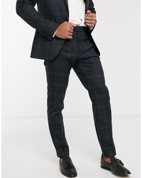 Moss Bros Moss London Tartan Check Suit Trousers - Blue