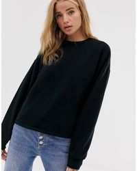 Pull&Bear – es Basic-Sweatshirt - Schwarz